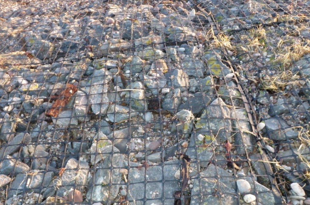 Existing  gabion mat still intact and fully functional after 30 years on coastal site