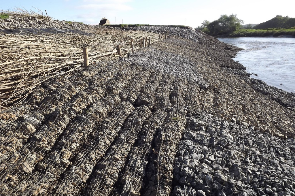 Newly installed Rock Mattresses on intertidal river