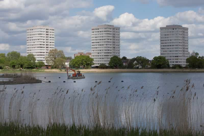 Looking out over Woodberry wetland and  desilting