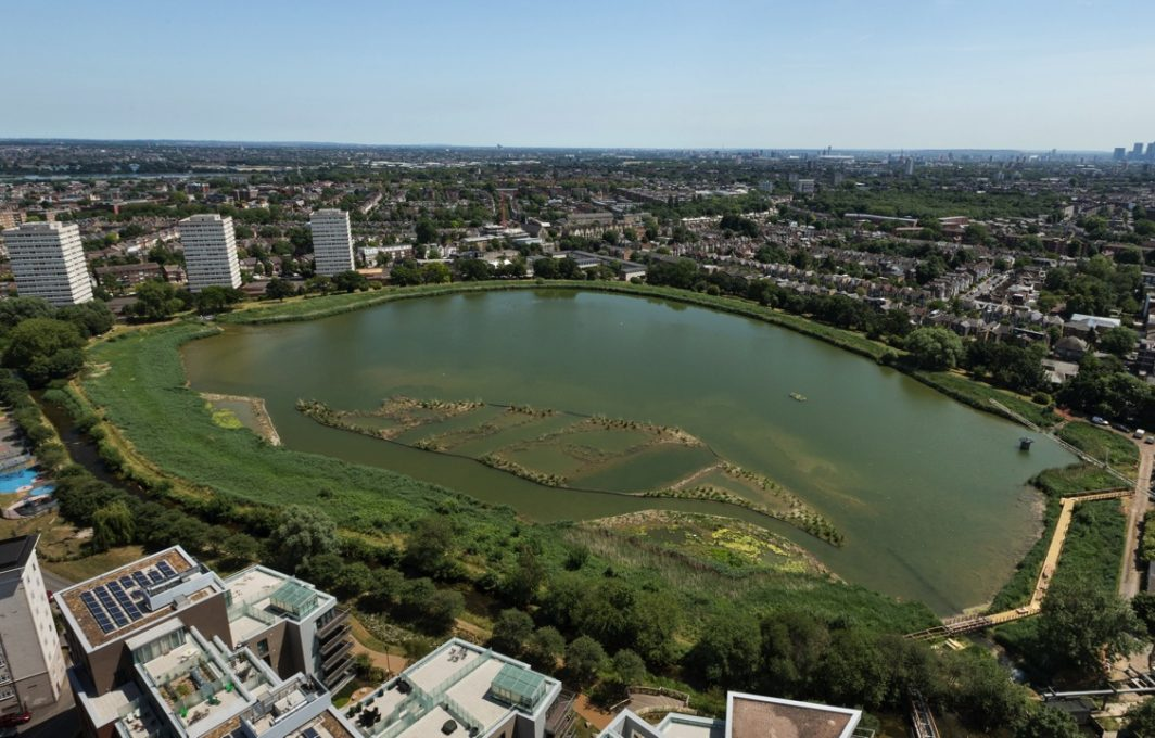 Aerial of established wetlands (photo credit London Wildlife Trust)