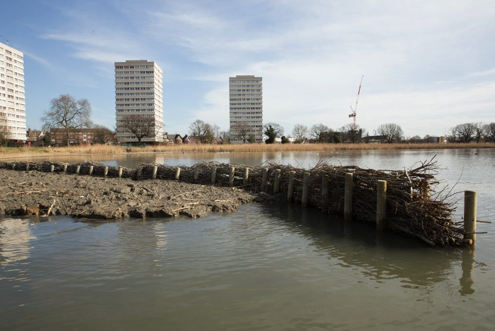 Woodberry fascines in place (photo credit London Wildlife Trust)