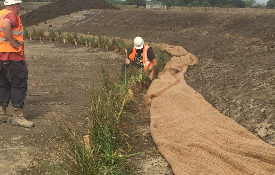 Eronet c125 will ensure that the soil behind the Coir Rolls and Pallets does not get washed away whilst plants establish