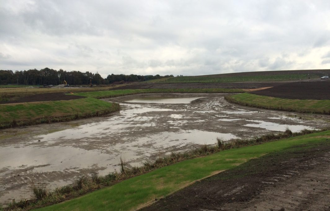 Balancing ponds will regulate the flow through the SuDS system. The Eronet C125 Erosion Blanket greens up and the natural vegetation will form part of the erosion control.