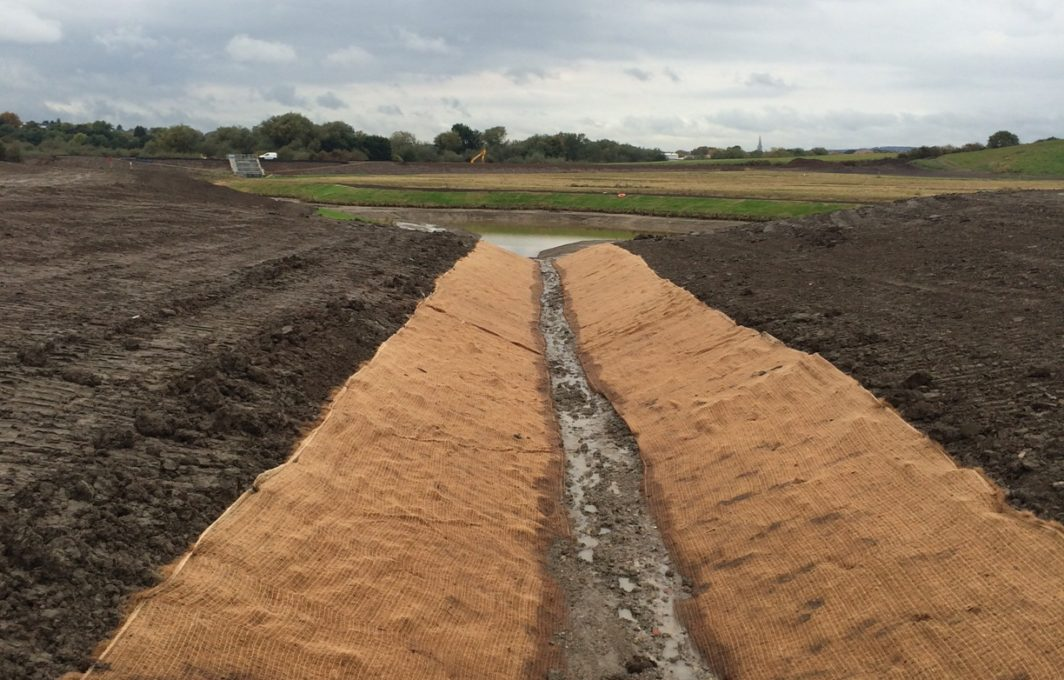 Eronet C125 Erosion Blanket lines the SuDS channels to protect the soils from erosion