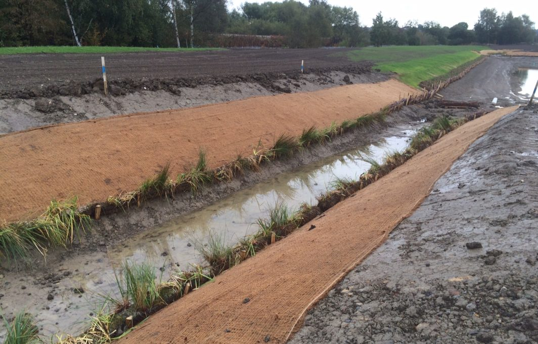 Eronet C125 Erosion Blanket protect the soils from erosion, whilst the pre planted Coir Rolls will also act to protect the banks from scour and erosion