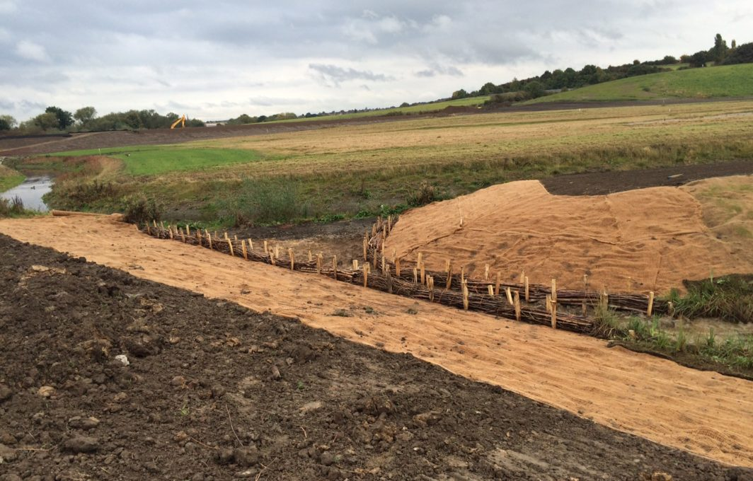 Eronet C125 Erosion Blanket protect the soils from erosion, whilst the faggots will also act to protect the banks from scour and erosion