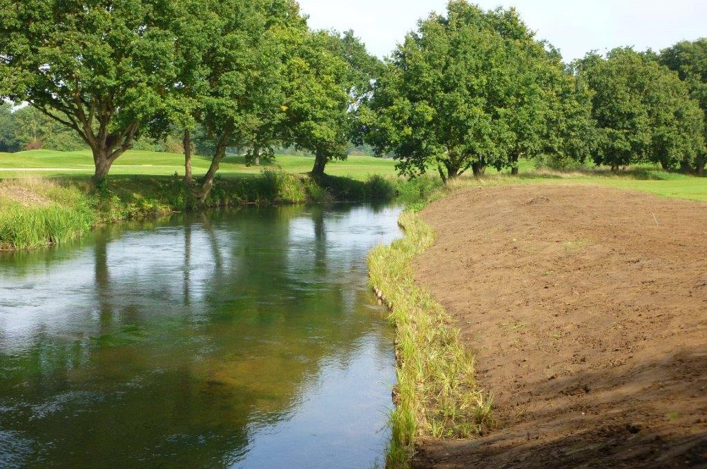 Planted up Coir Rolls on River Wey Wisley Golf Course