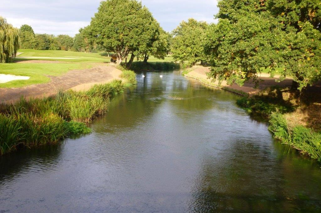 Preplanted Coir Rolls at Wisley Golf Course, preventing erosion on the river bank