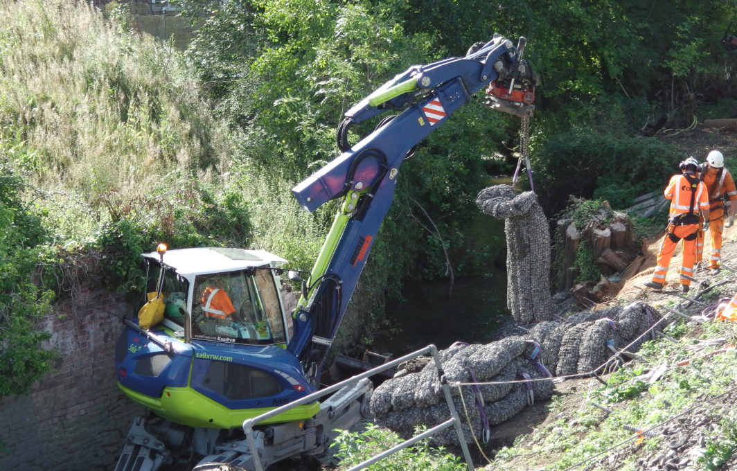 Rock Mattresses being placed in situ by Spider Excavator