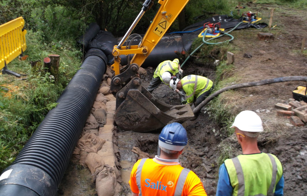 Dewatering the stream to put in the protection