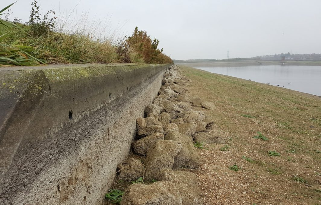 Existing concrete wave wall