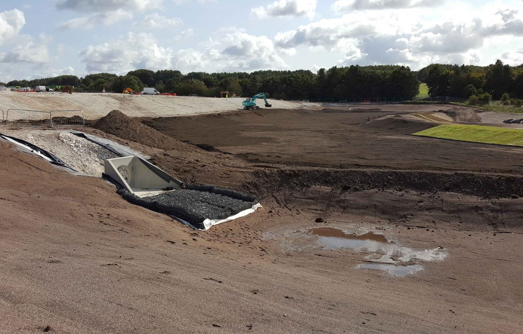 Large scale detention basin