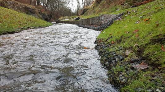 Result is a new channel that functioned immediately going into the winter. It has been unaffected by many high flow events and retained its habitat value.