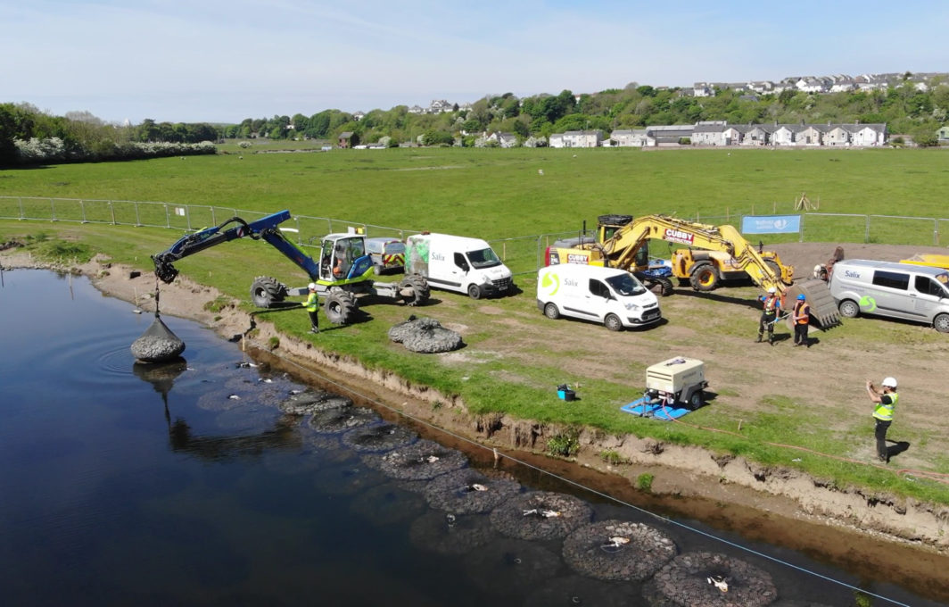 AquaRockBags going in river bank restoration works