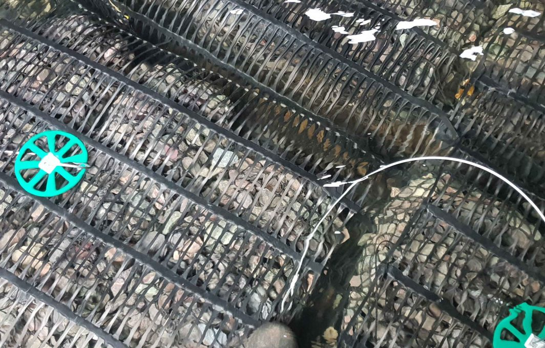 Close-up of ground anchors and pre-filled rock mattresses with Geogrid anti abrasion