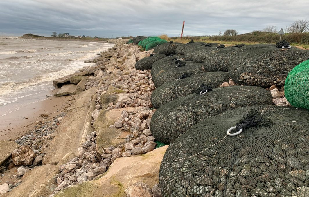 Coastal Revetment work using AquaRockBags