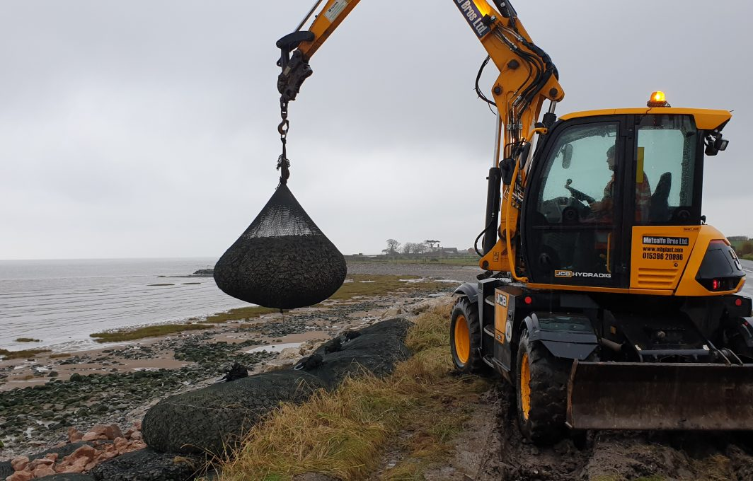 Coastal Revetment work using AquaRockBags - placing direct from the delivery lorry