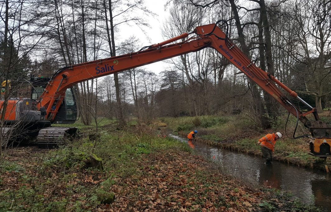 Salix's low ground pressure, long reach excavator reaching over water vole burrows